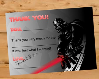 Star Wars Thank You Card, Star Wars Birthday, Fill in the blank thank you, Darth Vader Thank You Card, Kids Birthday Thank you Card, Thanks