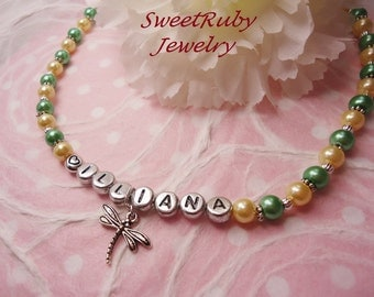 Personalized Dragonfly Necklace - Kids/Little Girls/Ladies - Custom Design Avaialble