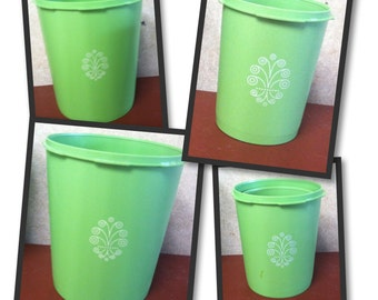 Vintage Tupperware cannisters/ plastic storage containers/ 4-pc cannister collection/ kitchen decor/ nesting cannisters