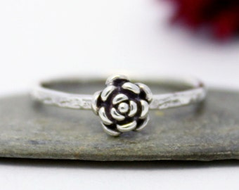 Tiny Rose Ring, Statement Ring, Cute Flower Simple Ring, Silver Stacking Ring, Rustic Oxidized Silver Stacking Ring/ Flower Ring