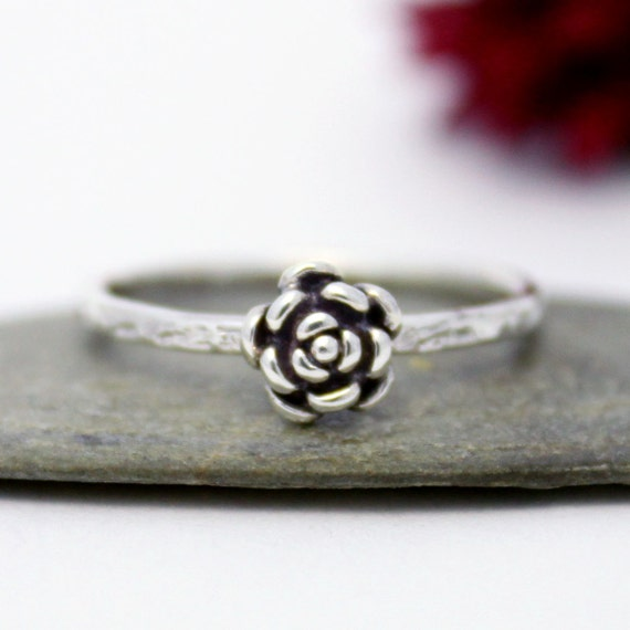 tiny ring statement ring flower simple ring