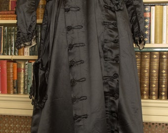Black Silk Satin Dress, Circa 1880