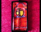 Hundertwasser Cabochon Glass Pendant Set in Bezel Tray