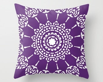 Medallion Pillow Cover - Purple and White Mandala Pillow -  Modern Home Decor - Accent Pillow - Decorative Pillow - Designer Aldari Home