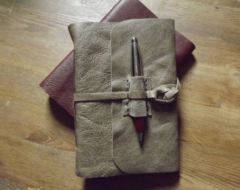 A6 Handmade Leather Journal lined paper and hand turned wooden pen