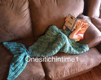 Crochet Mermaid Tail Blanket in three different sizes