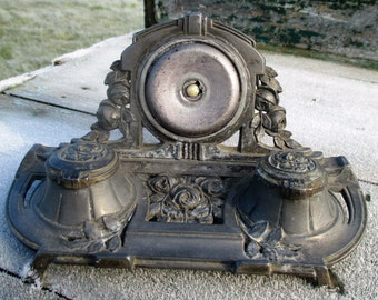 Small Lovely Ornate Pewter Porcelain Double Inkwell Flower French France