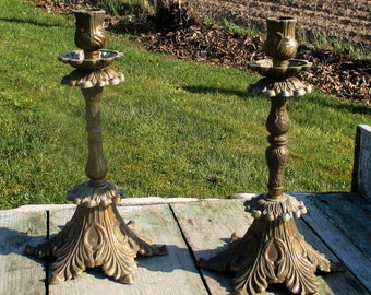 Vintage art Brass Couple Pair Candle Holders Ornate Decorative