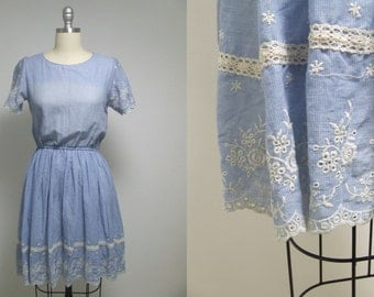 Vintage dress, blue dress, midi dress, summer dress, romantic dress, retro dress, floral dress, boho dress, hipster dress, hippie dress