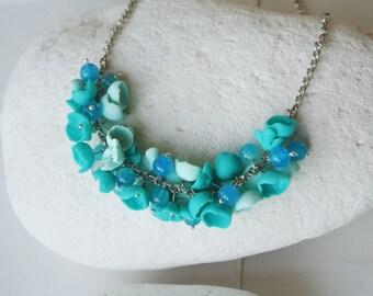 Teal Necklace, Mint necklace, Teal blue Necklace, statement necklace, modern necklace, chunky blue necklace, blue flower necklace