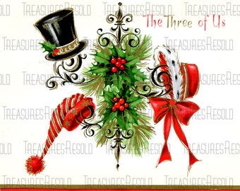 Family Hats On Rack From The Three Of Us Christmas Card #458 Digital Download