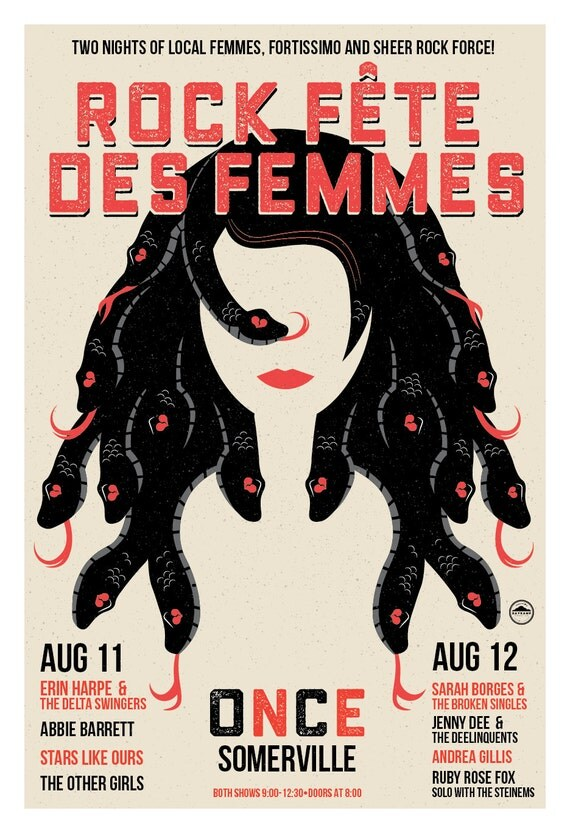 Rock Fête des Femmes Poster / Once, Somerville, MA