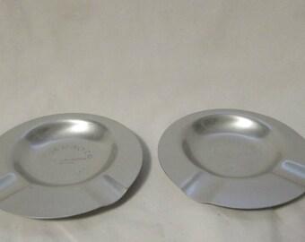 Ashtrays, Set of Two, Aluminum, Collectible Souvenirs, 1953