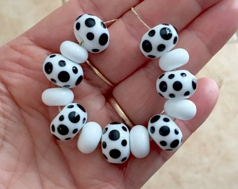 White black polka dots beads  handmade lampwork glass bead set 13 beads