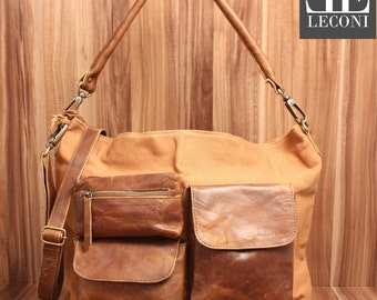 LECONI shoulder bag shoulder bag leather bag lady bag of canvas leather cognac LE0039-C