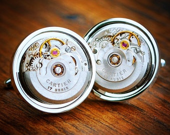 Cartier Watch Movement Cufflinks Vintage