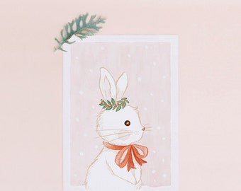 Nursery Decor Art Print: Winter White Bunny or Everyday Cards