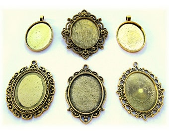 6 ANTIQUED Goldtone 40mm x 30mm CAMEO Mixed Lot of Settings Frames Pendant Pendants 40mm x 30mm for Making Costume Jewelry or Crafts Lot A