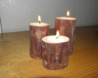 Beautiful Cedar tea light candle holders   #CAN101