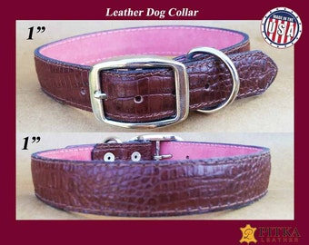 Brown Crock Leather Collars for Dogs - Studded Dog Collar - Handmade Dog Collars for Large Dog - Durable Dog Collars made in USA