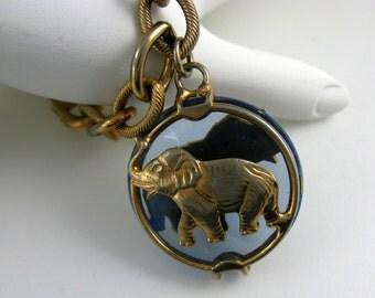Rare Signed Joseph Warner Bracelet. Lucky Elephant Gold Plated Charm. GOP Political Bracelet