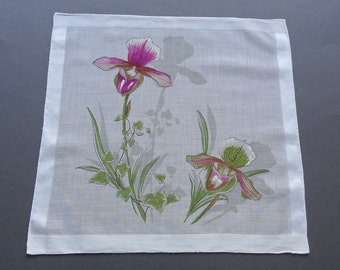 Purple Iris - Swiss Vintage Cotton Floral Hankie Handkerchief