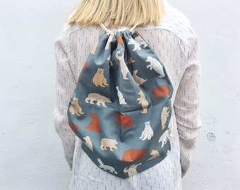 Handmade bear print drawstring backpack