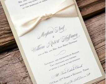 Classic Wedding Invitation with Ribbon, Layered Invitation