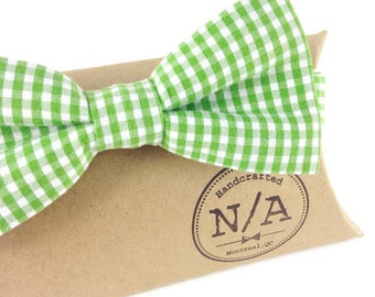 Green and White Gingham Bowtie, Mens, Adult, Teen