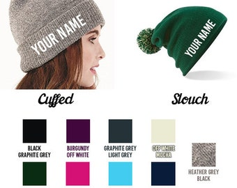 Personalised Gift | Snow Beanie Hat - Add a name (Up to 10 Letters)