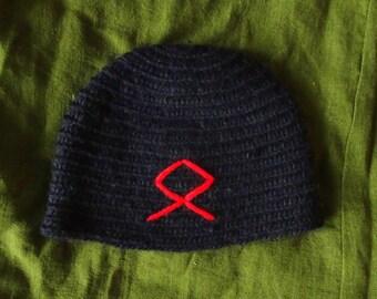 Handmade nålbinding hat black wool red odal rune Viking pagan Futhark