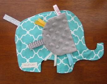Elephant Lovey, Elephant Sensory Blanket, Elephant Sensory Toy, Elephant Taggy Blanket
