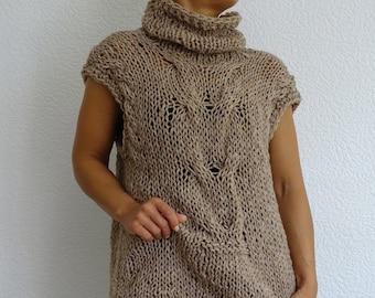 loose knit vest, knit sleeveless vest, turtle neck sweater, loose knit sweater, taupe, cable knit, braided, turtle neck, ready to ship