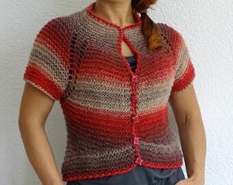 knit bolero, pure wool, colorful bolero, hand knit cardigan, hand knit sweater, knit shrug, knit top, natural wool, S size, ready to ship