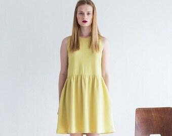 Christmas  in July Yellow Dress,summer sleeveless dress, Sundress, Women Shirt Dress, Bridesmaid Dress
