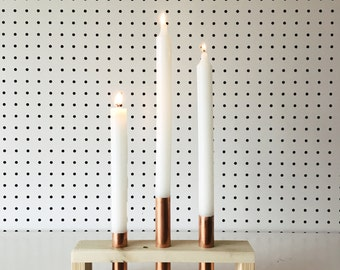 Reclaimed Wood and 3 Copper Candle Holder