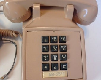 Vintage 1970's ITT NE-2500D pinkish Beige Touch Tone Desk Phone with modular cord