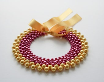 Glass pearl collar / Glass pearl necklace / Magenta / Yellow