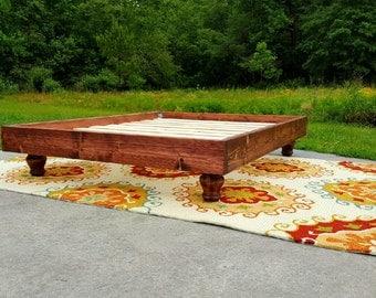 Platform Bed, Bun Feet, Bun Feet Bed, Bohemian Style Bed, Low Profile Bed, Wood Bed, Custom Bed, Maggie Platform Bed