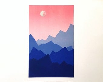 12x18 Letterpress Print - Ombre Sky Over Blue Mountains