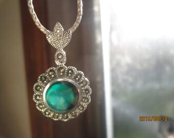 Genuine Dark Green Jade & Marcasite Sterling Silver 925 Pendant, Charm, Weight 5 Grams