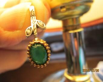 Style Art Deco 1.00ctw Emerald & White SapphireTwo-tone Gold/925 Sterling Silver Pendant, Wt. 1.5 Grams