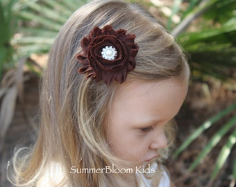 Fall hair clips, brown hair bows, brown kids hair accessory, brown flower girl hair clips, brown shabby chic flower hair clip, fall wedding
