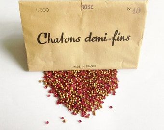 1000 Rose Pink Vintage rhinestones 'Chatons demi-fins' / Gold foiled pointed back chatons / Jewellery making / Crafts