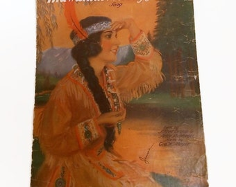 Vintage Sheet Music, Hiawathas Melody of Love Song, Vintage Songs, Jerome H Remick Sheet Music, Native American Collectibles, Music