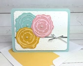 Swirled Flowers Card - Hand Stamped Card - Stampin Up Card - Blank Card - Birthday Card - Thank You Card - Greeting Card - Handmade Card