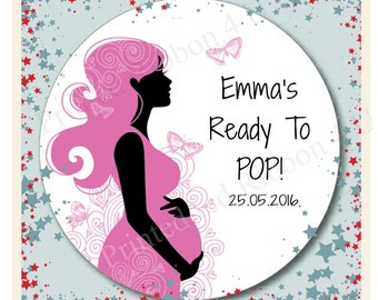 24 Round Personalised Ready To Pop Chic Pregnant Mom Baby Shower Thank You Stickers Mum To Be