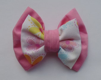 Pink & Floral Fabric Hair Double Bow
