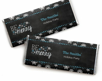 24 Be Merry - Holiday Candy Bar Wrappers - Personalized Holiday Party Favors