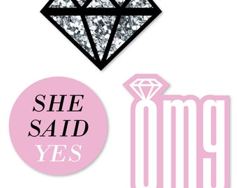 24 pc. Small OMG, You're Getting Married - Engagement Party Shaped Paper Cut Outs - Bridal Shower Die Cut -Bachelorette Party Decoration Kit